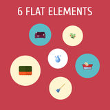 Flat Icons Clothes Washing, Wisp, Aqua And Other Vector Elements.  Royalty Free Stock Photos