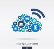 Flat icons in cloud computing shape, technology, digital concept. Royalty Free Stock Photo