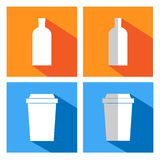 Flat icons for coffee cups and bottles Stock Photo