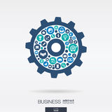 Flat icons in a cogwheel shape, business, marketing research, strategy, mission, analytics mechanism concepts. Stock Image