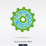 Flat icons in a cogwheel shape, medical, health, healthcare mechanism concepts. Color circles with flat icons in a cogwheel shape, medical, health, healthcare Royalty Free Stock Photos