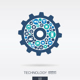 Flat icons in cogwheel shape, technology, cloud computing, digital mechanism concept. Color circles, flat icons in cogwheel shape, technology, cloud computing Stock Photography