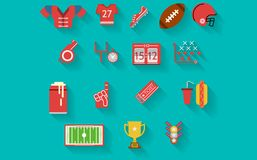 Flat icons collection for american football Stock Photo