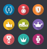 Flat Icons Collection of Awards and Trophy Signs, Long Shadow Design Stock Photo