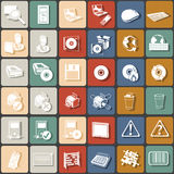 Flat icons 2. A collection of A collection of 36 different colorful music instrument squared icons, part 2 Stock Photo