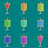Flat icons collection of colored pennants. Set of colorful vertical pennant flat icons on blue background Stock Images