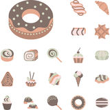 Flat icons collection for confectionery Royalty Free Stock Images