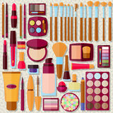 Flat icons collection. Decorative cosmetic Stock Photography