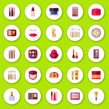 Flat icons collection. Decorative cosmetics Royalty Free Stock Photography