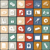 Flat icons 3. A collection of 36 different flat squared icons, part 3 Stock Photo