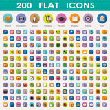 200 flat icons collection Royalty Free Stock Photography