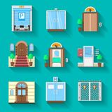 Flat icons collection for entrance doors Royalty Free Stock Photography