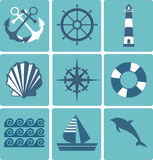 Flat icons collection. Marine set Stock Photography