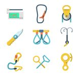 Flat icons collection of mountaineering outfit Stock Photo