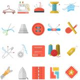 Flat icons collection of sewing items Stock Photography