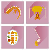 Flat icons collection with shadow restaurant meals Royalty Free Stock Photo