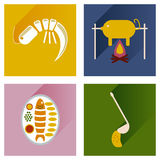 Flat icons collection with shadow restaurant meals Royalty Free Stock Images
