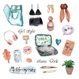 Flat icons collection watercolor stock illustration