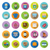 Flat Icons Collection With Long Shadow Stock Photo