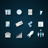 Flat icons colored collection for startup and Stock Photo