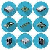 Flat icons computer components. In  format eps10 Royalty Free Stock Images