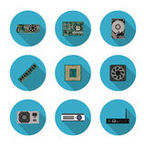 Flat icons computer components Royalty Free Stock Photos