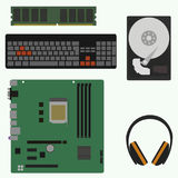 Flat icons computer components in vector format. Flat style. vector illustration stock illustration