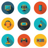 Flat icons computer games Royalty Free Stock Images