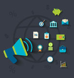 Flat icons concepts on business and finance theme Stock Photography