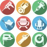 Flat icons for construction equipment Royalty Free Stock Images