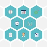 Flat Icons Contract, Task List, Calendar And Other Vector Elements. Set Of Job Flat Icons Symbols Also Includes Diagram Stock Image