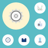 Flat Icons Costume, Diagram, Cogwheel And Other Vector Elements. Set Of Business Flat Icons Symbols Also Includes Watch. Flat Icons Costume, Diagram, Cogwheel Royalty Free Stock Images