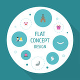 Flat Icons Couple, Calendar, Sandal Vector Elements. Set Of Ceremony Flat Icons Symbols Also Includes Surprise, Gharry Stock Photo