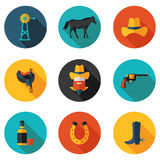 Flat icons cowboy Royalty Free Stock Image