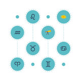Flat Icons Crab, Space, Twins And Other Vector Elements. Set Of Astrology Flat Icons Symbols Also Includes Leo, Zodiac Stock Photo