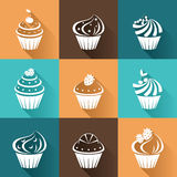Flat icons cupcakes with long shadow. Stock Image