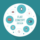 Flat Icons Customer Summary, Social Media Ads, Auditorium And Other Vector Elements. Set Of Advertising Flat Icons Stock Image
