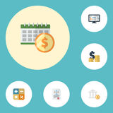 Flat Icons Deadline, Accounting System, Coins Pile And Other Vector Elements. Set Of Recording Flat Icons Symbols Also Stock Images