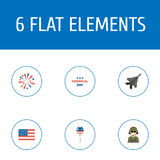Flat Icons Decoration, Aircraft, Military Man And Other Vector Elements. Set Of Memorial Flat Icons Symbols Also. Flat Icons Decoration, Aircraft, Military Man Royalty Free Stock Photography