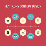 Flat Icons Decoration, Hat, Fire Wax And Other Vector Elements. Flat Icons Decoration, Hat, Fire Wax And Other Vector Elements Set Of History Flat Icons Symbols Royalty Free Stock Photos