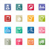 Flat icons delivery logistic shipping and white background Stock Image