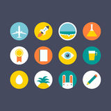 Flat icons. Flat design icon set with different objects for a website or smartphone application Stock Illustration