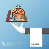 Flat icons design of Italy landmarks. Global travel infographic . Royalty Free Stock Photography