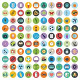 Flat icons design modern vector illustration. Big set of web and technology development icons, business management symbol, marketing items and other various stock illustration