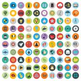 Flat icons design modern vector illustration. Big set of web and technology development icons, business management symbol, marketing items and other various Stock Photography