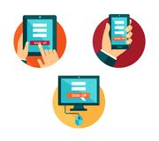 Flat icons with different devices for sign-up Stock Image