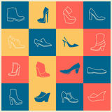 Flat icons of different kinds of shoes Stock Photo