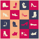 Flat icons of different kinds of shoes Royalty Free Stock Photo