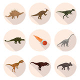 Flat icons dinosaurs Royalty Free Stock Images