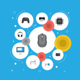 Flat Icons Display, Computer Mouse, Controller And Other Vector Elements. Set Of Laptop Flat Icons Symbols Also Includes Royalty Free Stock Photo